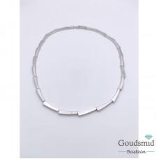 Zilveren collier mat/poli gerhodineerd