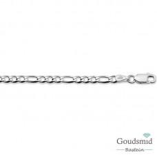 Zilveren collier figaro 3,25mm 45cm