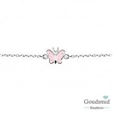 Zilveren kinderarmbandje vlinder