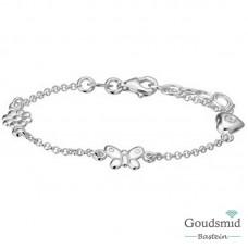 Zilveren kinderarmbandje bloem/vlinder/hartje