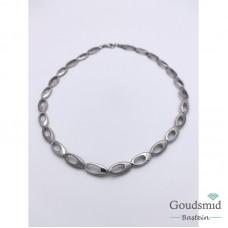 Boltjes collier zilver mat/poli gerhodineerd