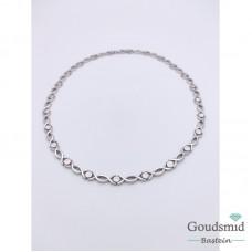 Zilveren collier mat/poli gerhodineerd 45cm