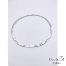 Zilveren collier mat/poli zirkonia gerhodineerd