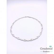 Zilveren collier mat/poli zirkonia gerhodineerd 45cm