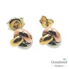 Gouden oorknoppen 14 karaat tricolor 5501