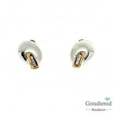 Zilveren oorknoppen verguld zirkonia