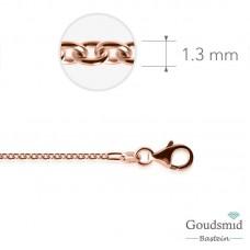 Zilveren collier 1,3mm anker rose verguld 45cm
