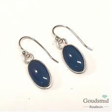 Blauw agaat oorhangers 8x14mm