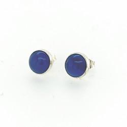 Blauw agaat oorknoppen 8mm
