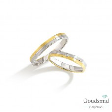 Bluerings trouwringen set BU002 14kt goud zirkonia