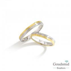 Bluerings trouwringen set BU002 14kt goud zirkonia