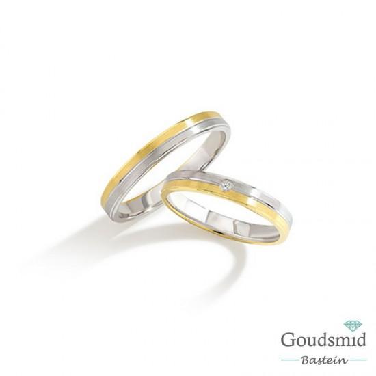 Bluerings trouwringen set BU002 14kt goud diamant