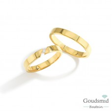 Bluerings trouwringen set BU003 14kt goud zirkonia