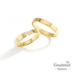 Bluerings trouwringen set BU003 14kt goud zirkonia