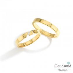 Bluerings trouwringen set BU003 14kt goud diamant