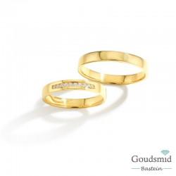 Bluerings trouwringen set BU005 14kt goud zirkonia