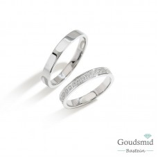 Bluerings trouwringen set BU009 14kt goud zirkonia