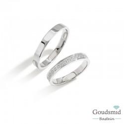 Bluerings trouwringen set BU009 zilver zirkonia