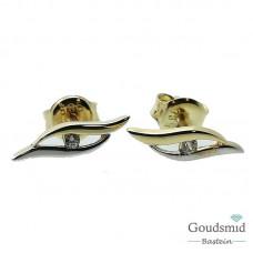 Gouden oorknoppen 14karaat zirkonia