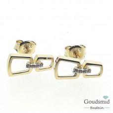 Gouden oorknoppen 14 karaat geelgoud zirkonia EMDD01-0708