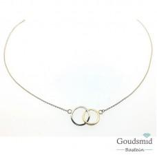 Gouden collier 14karaat bicolor rondjes