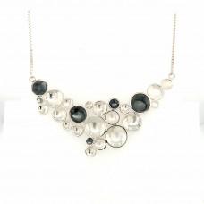 Zilveren collier rondjes glanzend oxi