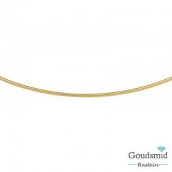 Geelgouden collier omega 1,2mm eindoog afschroefbaar (voor smalle hangogen) 45cm