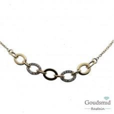 Gouden collier 14karaat zirkonia