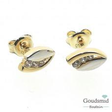 Gouden oorknoppen 14karaat bicolor zirkonia OS 172593