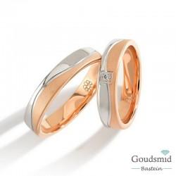 Bluerings trouwringen set PA001 14kt goud zirkonia