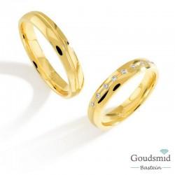 Bluerings trouwringen set PA002 14kt goud zirkonia