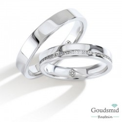 Bluerings trouwringen set PA003 zilver zirkonia