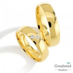 Bluerings trouwringen set PA005 14kt goud zirkonia