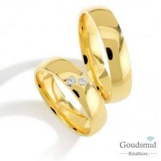 Bluerings trouwringen set PA005 14kt goud Diamant