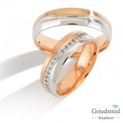 Bluerings trouwringen set PA008 14kt goud zirkonia
