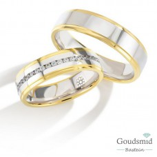 Bluerings trouwringen set PA011 14kt goud Diamant