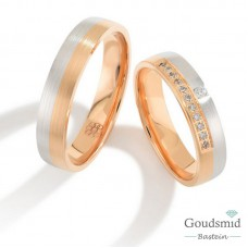 Bluerings trouwringen set PA012 14kt goud zirkonia