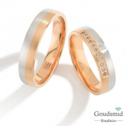 Bluerings trouwringen set PA012 14kt goud Diamant
