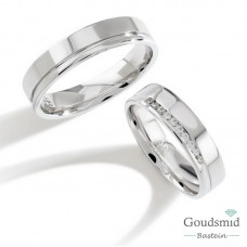 Bluerings trouwringen set PA013 14kt goud Diamant