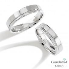 Bluerings trouwringen set PA013 zilver zirkonia