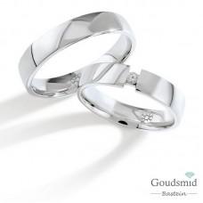Bluerings trouwringen set PA014 14kt goud zirkonia