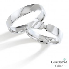 Bluerings trouwringen set PA014 zilver zirkonia