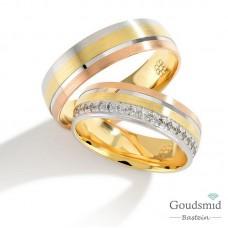 Bluerings trouwringen set PA015 14kt goud Diamant