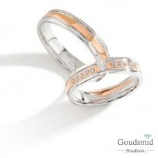 Bluerings trouwringen set PA016 14kt goud Diamant