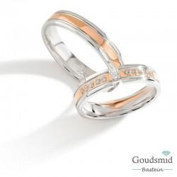 Bluerings trouwringen set PA016 zilver zirkonia