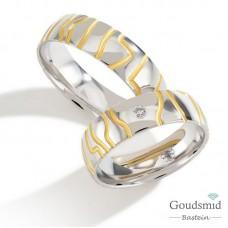 Bluerings trouwringen set PA018 14kt goud Diamant