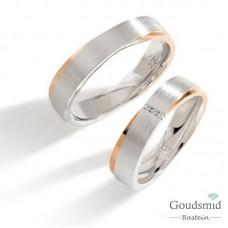 Bluerings trouwringen set PA019 14kt goud zirkonia