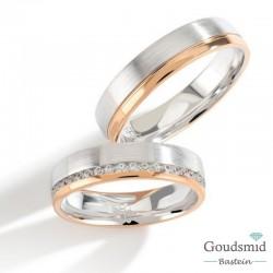 Bluerings trouwringen set PA020 14kt goud zirkonia