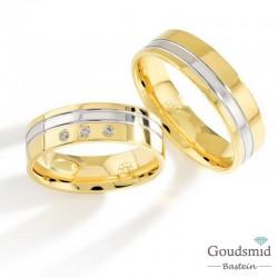 Bluerings trouwringen set PA023 14kt goud Diamant