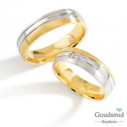 Bluerings trouwringen set PA024 14kt goud zirkonia